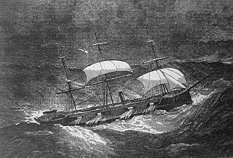 HMS Captain (1869) - HMS Captain 1869 in heavy seas