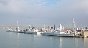HMNB Portsmouth - Four Royal Navy ships alongside HMNB Portsmouth, including Type 45 Destroyers HMS ''Dauntless'' and ''Diamond''.