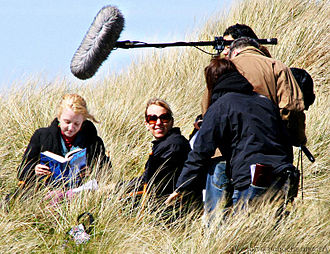 Production of Harry Potter and the Deathly Hallows - Evanna Lynch reading Harry Potter and the Order of the Phoenix on the Deathly Hallows set in May 2009.
