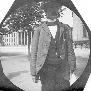 1955 in Norway - Haaken Hasberg Gran photographed by fellow student Carl Størmer outside the University in the 1890s