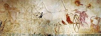 Government of Macedonia (ancient kingdom) - Hades abducting Persephone, fresco in the small Macedonian royal tomb at Vergina, Macedonia, Greece, c. 340 BC