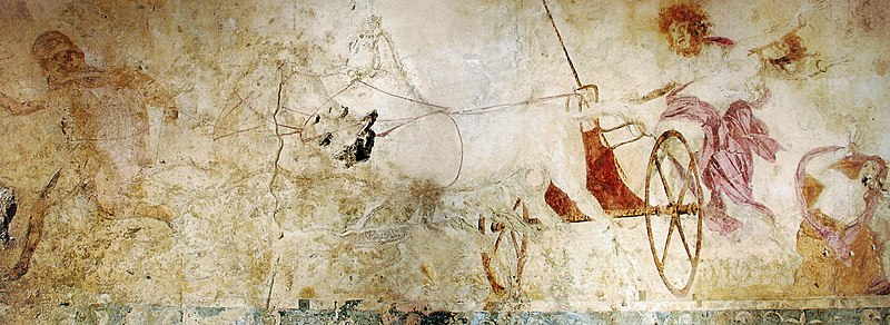 Hades abducting Persephone, fresco in the small Macedonian royal tomb at Vergina, Macedonia, Greece, c. 340 BC Hades abducting Persephone.jpg