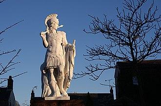 Brampton, Carlisle - Modern statue of Hadrian, whose Wall passes to the north of Brampton.