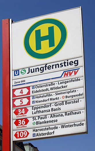 Bus stop - Bus stop sign in Hamburg with line numbers and major stops