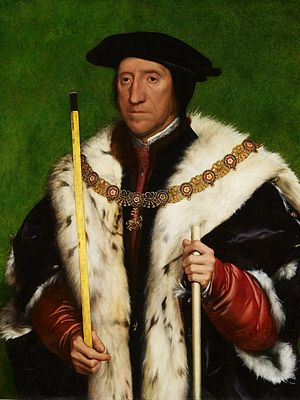 Thomas Howard, 3rd Duke of Norfolk - Thomas Howard, 3rd Duke of Norfolk by Hans Holbein the Younger, Royal Collection. He wears the Collar of the Order of the Garter and holds two staffs of senior officers of the Royal Household: in his right hand the baton of Earl Marshal, in his left the longer white staff of Lord Treasurer