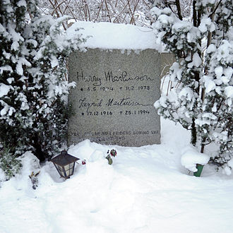 Harry Martinson - The headstone on Martinson's grave in Silverdal, Sollentuna – north of Stockholm