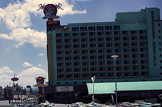 Harveys Lake Tahoe - Harvey's Resort Hotel in the late 1960s. Across the street, Harrah's only has a casino and no hotel yet; its hotel was built in the early 1970s.
