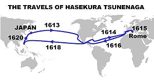 Edo period - Itinerary and dates of the travels of Hasekura Tsunenaga