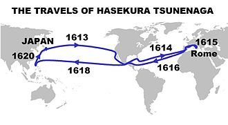 Hasekura Tsunenaga - Itinerary and dates of the travels of Hasekura Tsunenaga