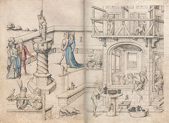 Public bathing - A bathhouse, c. 1475-1485
