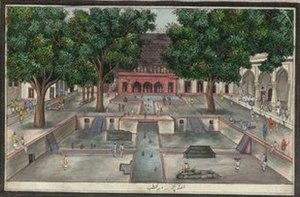 Hauz-i-Shamsi - A painting of Hauzi-i-Shamsi feeding a Jharna for the garden with two pavilions