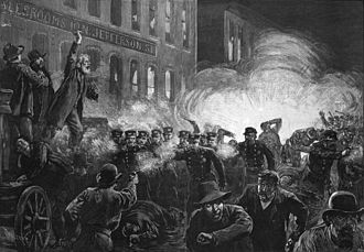 Pipe bomb - This 1886 engraving was the most widely reproduced image of the Haymarket riots. It inaccurately shows Fielden speaking, the pipe bomb exploding, and the rioting beginning simultaneously.