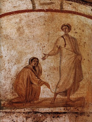 Jesus healing the bleeding woman - Christ Healing a bleeding woman, as depicted in the Catacombs of Rome.