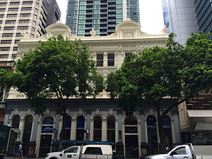 Heckelmanns Building - Different architectural styles on the ground and upper levels, 2015