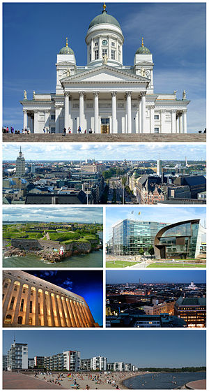 Clockwise from top: Helsinki Cathedral, view of central Helsinki, سانوما building and Kiasma, Helsinki city centre at night, beaches at Aurinkolahti, Parliament House and Suomenlinna.
