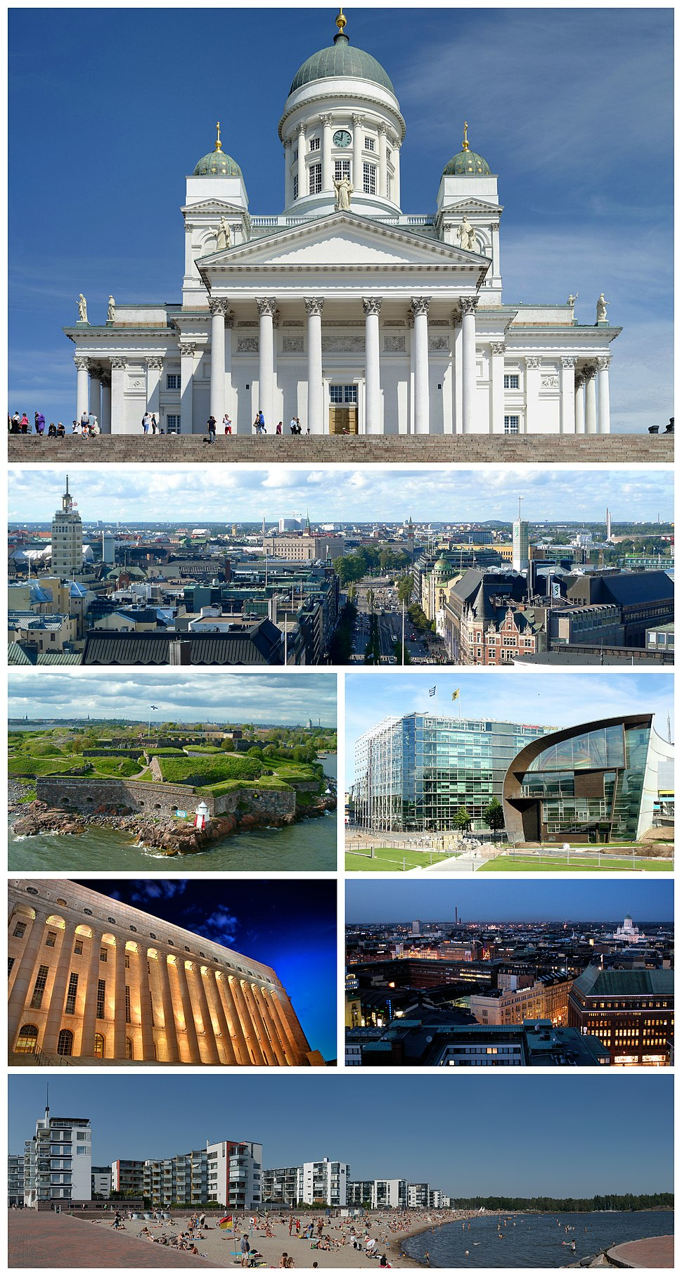 Clockwise from top: Helsinki Cathedral, view of central Helsinki, Sanoma building and Kiasma, Helsinki city centre at night, beaches at Aurinkolahti, Parliament House and Suomenlinna.