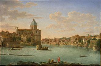 Hendrik Frans van Lint - Rome, A View of San Giovanni dei Fiorentini