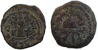Coin of Herod the Great, bearing a temple and star of david