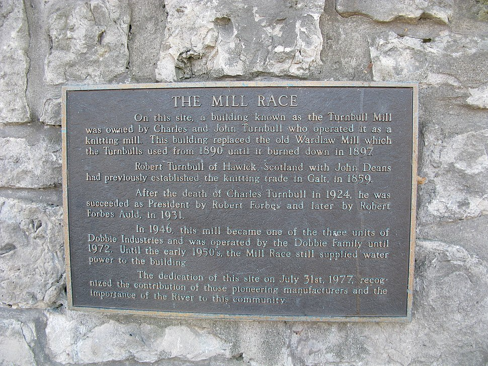 Historical plaque for the Mill Race, Cambridge, Ontario