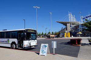 Ron Tonkin Field - A Hops Shuttle bus at the ballpark