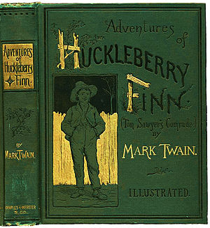 Great American Novel - The cover of the first edition of Adventures of Huckleberry Finn (1884)