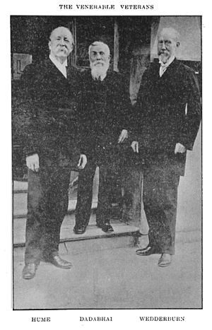 Early Nationalists -  The founder of Early Nationalism A. O. Hume (left) with Sir William Wedderburn (right) and Dadabhai Naoroji