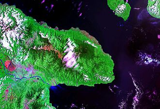 Huon Peninsula - Huon Peninsula seen from space (false color)