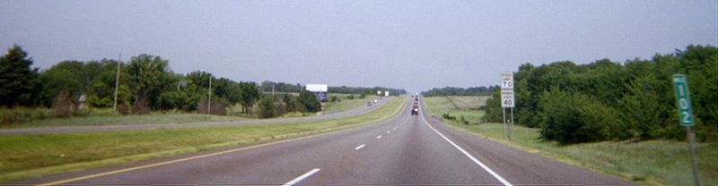 Interstate 35 in Goldsby, Oklahoma at milemarker 102. I35oklahoma102.jpg