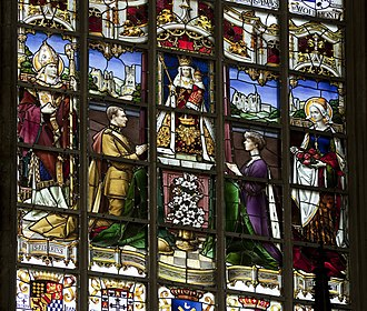 Albert I of Belgium - King Albert I and Queen Elisabeth praying to Our lady of the Sablon, stained Glass