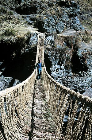 Inca rope bridge - Image: IRB 9 New Bridge Complete keshwa 2