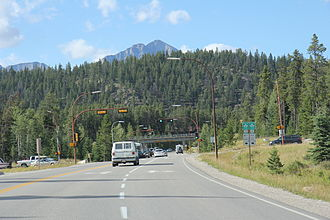 Alberta Highway 93 - Looking north at the northern terminus of the Icefields Parkway.