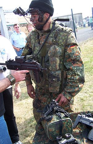Heckler & Koch MP7 - A German Army soldier demonstrates the MP7A1 of the IdZ program.