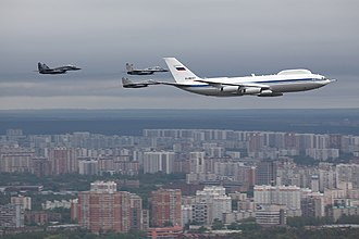 Ilyushin Il-80 - Ilyushin Il-80 flying over Moscow on 6 May 2010