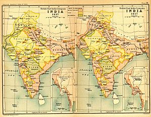 Indian Rebellion of 1857 - India in 1837 and 1857 showing East India Company-governed territories in pink