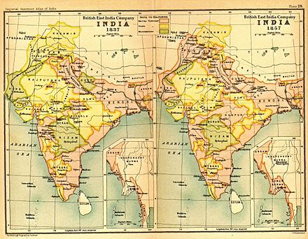 India in 1837 and 1857 showing East India Company (pink) and other territories - Indian Rebellion of 1857