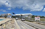 Insel Air making a low landing, Princes Juliana Airport, St Maarten, Oct 2014 (15707954546).jpg