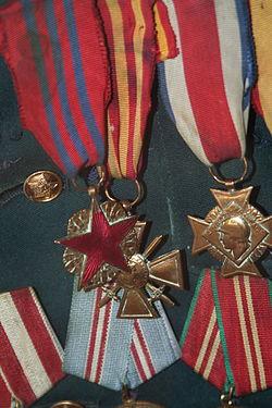 Insigne des blessés militaires, Croix de guerre and Croix des services militaires volontaires of Ahmadiyya Jabrayilov.JPG
