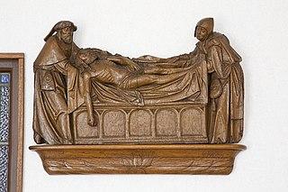 Sint-Nicolaaskerk, grafleggingsreliëf en beelden