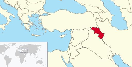 Iraqi Kurdistan on world map