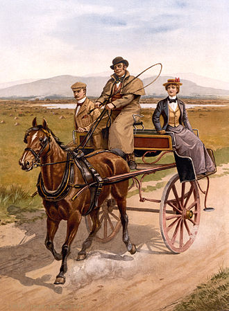 "Recollections of a Tour Made in Scotland, A. D. 1803 - A late 19th-century painting of a jaunting car similar to the one used by Dorothy, William and Samuel. Because of the poor roads ""in practice it meant going most of the way by foot. The car was purchased by Samuel Taylor Coleridge."""