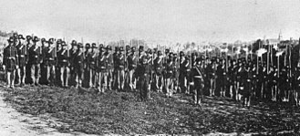 Iron Brigade - Union Army soldiers in the 7th Wisconsin Volunteer Infantry Regiment, Company I, of the Iron Brigade, in Virginia, 1862