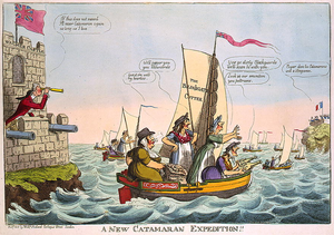 "Shrew (stock character) - Isaac Cruikshank's 1805 political cartoon, ""A New Catamaran Expedition!!!""."