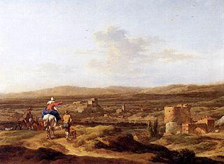 Paysage italien avec personnages et animaux : village sur un plateau