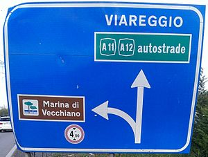 Road signs in Italy - Example of directional road sign with multiple destinations. It is blue because it is on a main road (not a motorway) outside a town. The indication to a motorway is in a green box, and the indication to a tourist attraction is in a brown box. It uses both allowed fonts: the words VIAREGGIO and Marina di Vecchiano are in Alfabeto Normale, and the word autostrade is in Alfabeto Stretto