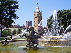 A photograph of the Country Club Plaza in Kansas City, Missouri.