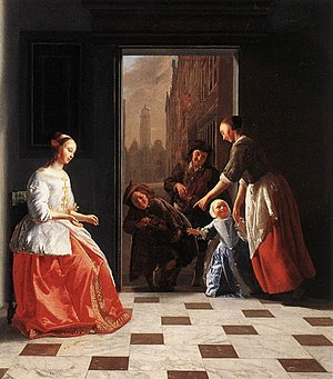 Jacob Ochtervelt - Street Musicians at the Doorway of a House, 1665