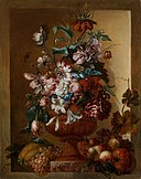 Jacoba Maria van Nickelen - flowers in a vase set in a stone niche.jpeg