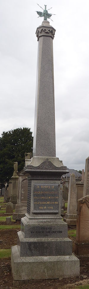 James Bowman Lindsay - James Bowman Lindsay's obelisk at Western Cemetery, Dundee.