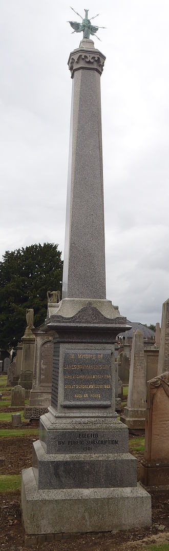 James Bowman Lindsay - James Bowman Lindsay's obelisk at Western Cemetery, Dundee