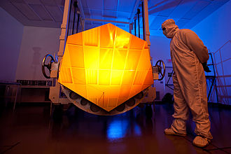 Mirror for the James Webb Space Telescope coated in gold to reflect infrared light James Webb Space Telescope Mirror33.jpg